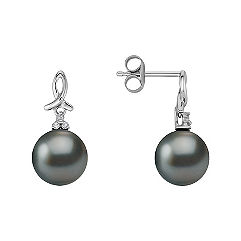 9mm Cultured Tahitian Pearl and Diamond Earrings