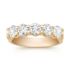 Five Stone Round Diamond Wedding Band