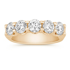 Five Stone Round Diamond Wedding Band in Yellow Gold - 2 ct. t.w.
