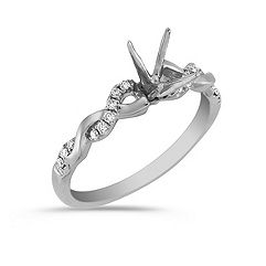 Diamond and 14k White Gold Infinity Engagement Ring