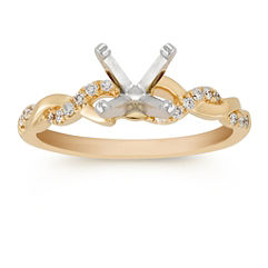 Diamond and 14k Yellow Gold Infinity Engagement Ring