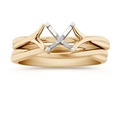 Swirl Solitaire Yellow Gold Wedding Set