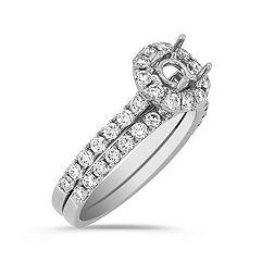 Halo Diamond Wedding Set in 14k White Gold