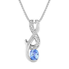 Oval Ice Blue Sapphire and Diamond Pendant (18 in.)