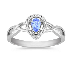 Pear Shaped Ice Blue Sapphire and Diamond Ring