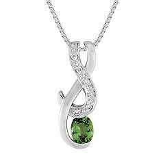 Oval Green Sapphire and Diamond Pendant (18)