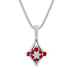Round Ruby and Diamond Pendant (18)