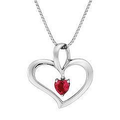 Heart-Shaped Ruby Heart Pendant (18 in.)