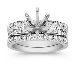 Triple Band Ascending Size Round Diamond Wedding Set