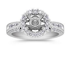 Halo Baguette and Round Diamond Platinum Engagement Ring