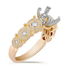 Round Bezel-Set Diamond Engagement Ring in 14k Yellow Gold