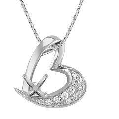 Round Diamond Asymmetrical Heart Pendant (18 in.)