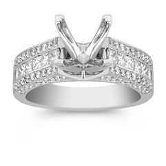 Double Isled Princess Cut and Round Diamond Engagement Ring