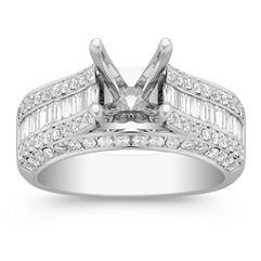 Baguette and Round Diamond Platinum Engagement Ring with Channel Setting