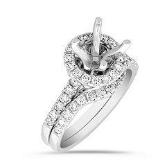 Halo Pavé Set Diamond Wedding Set