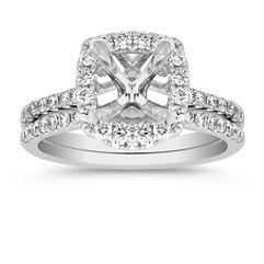 Halo, for 1.50 carats, Diamond Wedding Set with Pave Setting