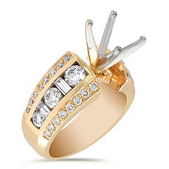 Round and Baguette Diamond Engagement Ring in Yellow Gold