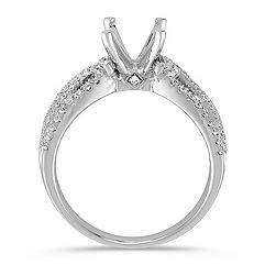 Split Shank to Crossing Round Diamond Engagement Ring