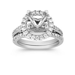 Round Halo Diamond Wedding Set with Pave Setting and Under Crossover