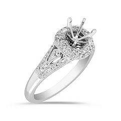 Crowned and Side Detailed Halo Diamond Platinum Engagement Ring with Pavé-Setting