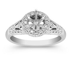 Crowned and Side Detailed Halo Diamond Platinum Engagement Ring with Pave-Setting