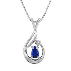 Pear Shaped Sapphire and Diamond Pendant