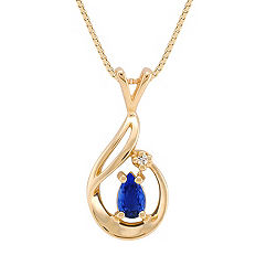 Pear Shaped Sapphire and Diamond Pendant