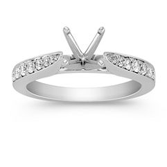 Cathedral Diamond Engagement Ring with Pave Setting