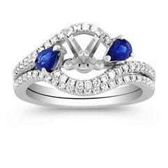 Swirl Pear Shaped Sapphire and Round Diamond Wedding Set