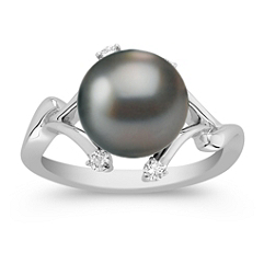 9mm Cultured Tahitian Pearl and Round Diamond Ring