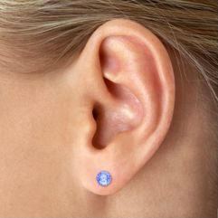 Round Ice Blue Sapphire Solitaire Earrings