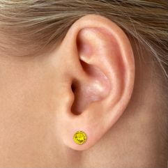 Round Yellow Sapphire Solitaire Earrings