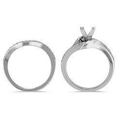 Round Diamond and Partially Polished Wedding Set