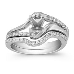 Round Diamond and Partially Polished Wedding Set