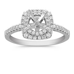 Double Halo Diamond Platinum Engagement Ring with Pave-Setting