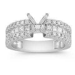 Princess Cut and Round Diamond Engagement Ring with Channel Setting
