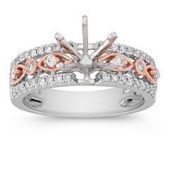 Diamond White and Rose Gold Engagement Ring