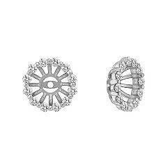 Round Diamond Basket Earring Jackets in 14k White Gold