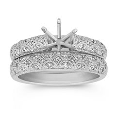 Vintage Diamond Half Moon Detailed Wedding Set with Pave-Setting
