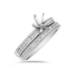 Milgrain Outline Round Diamond Wedding Set