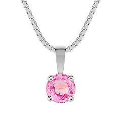 "Round Pink Sapphire Pendant (18"")"