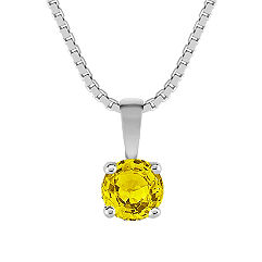 "Round Yellow Sapphire Solitaire Pendant (18"")"