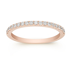 Pave Set Classic Diamond Wedding Band in Rose Gold