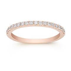 Pavé Set Classic Diamond Wedding Band in Rose Gold