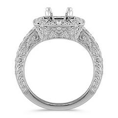 Halo Vintage Diamond Platinum Engagement Ring with Pavé Setting