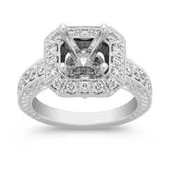 Halo Vintage Diamond Platinum Engagement Ring with Pave Setting and Engraving