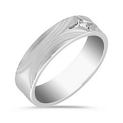 Ripple Detailed and Bezel Set Round Diamond Ring