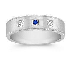 Round Sapphire and Diamond Ring