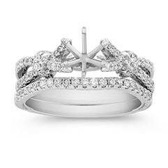 Vintage Diamond Split Shank Wedding Set with Pave-Setting