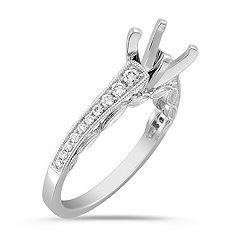 Platinum Vintage Cathedral Diamond Engagement Ring with Pavé Setting